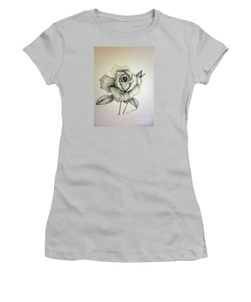 Rose In Monotone Women's T-Shirt (Athletic Fit)