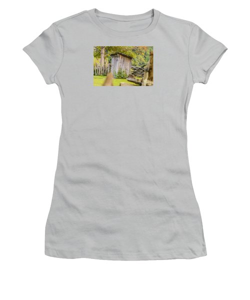 Rustic Fence And Outhouse Women's T-Shirt (Athletic Fit)