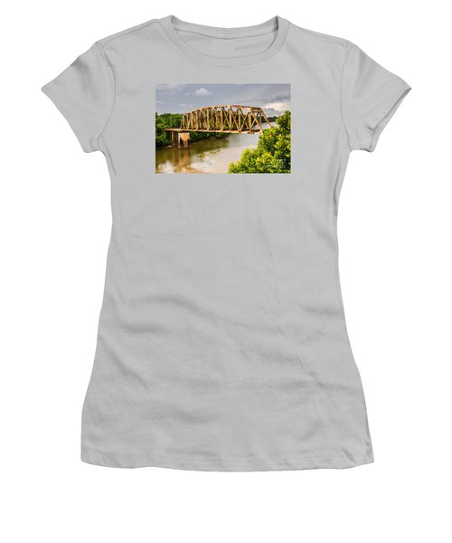 Women's T-Shirt (Athletic Fit) featuring the photograph Rusty Old Railroad Bridge by Sue Smith