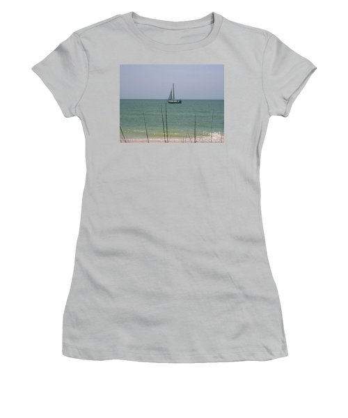 Women's T-Shirt (Junior Cut) featuring the photograph Sailing In The Gulf by D Hackett