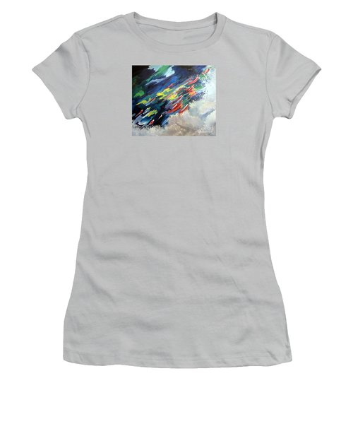 Salmon Run Women's T-Shirt (Junior Cut) by Carol Sweetwood