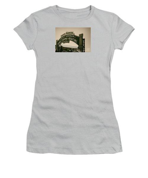Santa Monica Pier Sign Women's T-Shirt (Junior Cut) by David Millenheft