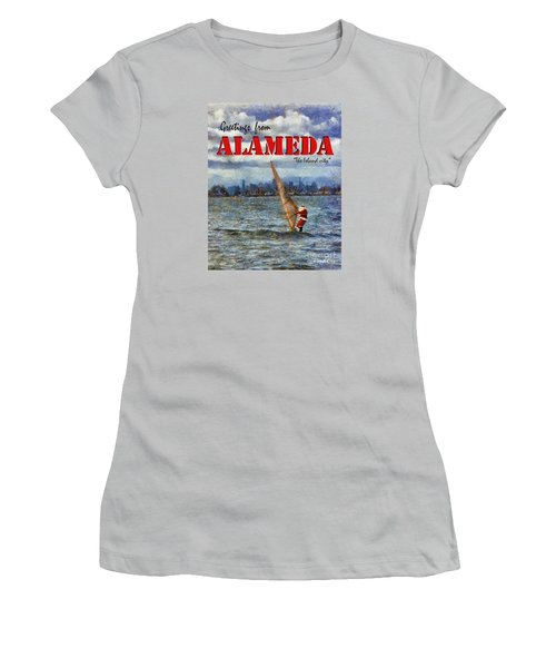 Alameda Santa's Greetings Women's T-Shirt (Junior Cut) by Linda Weinstock