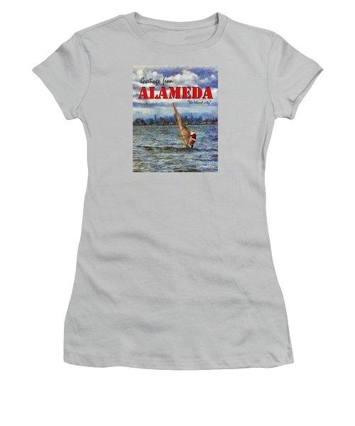 Women's T-Shirt (Junior Cut) featuring the photograph Alameda Santa's Greetings by Linda Weinstock