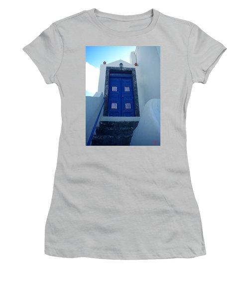 Santorini Door  To Heaven  Women's T-Shirt (Athletic Fit)