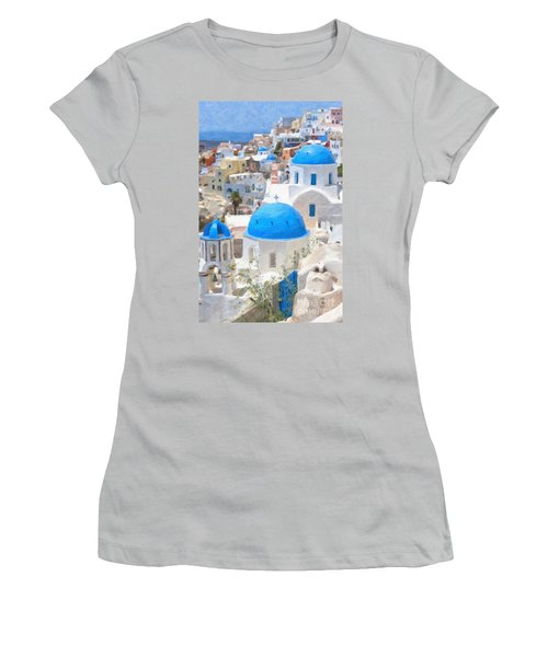 Santorini Oil Painting Women's T-Shirt (Athletic Fit)