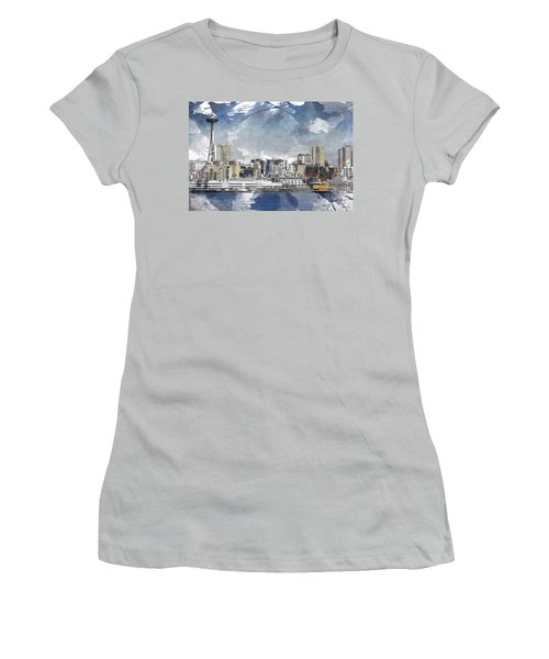 Seattle Skyline Freeform Women's T-Shirt (Athletic Fit)