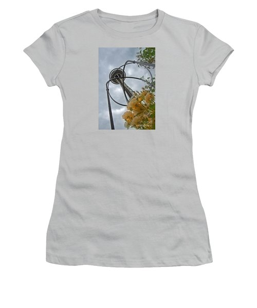 Seattle Spaceneedle With Watercolor Effect Yellow Roses Women's T-Shirt (Junior Cut) by Valerie Garner