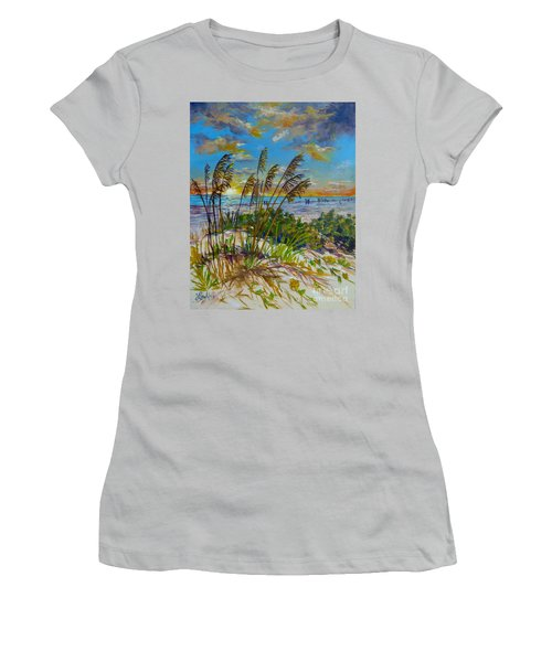 Women's T-Shirt (Junior Cut) featuring the painting Siesta Beach Sunset Dunes by Lou Ann Bagnall