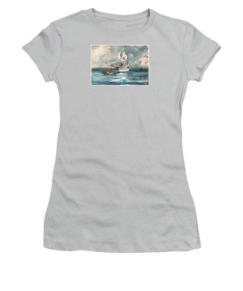 Sloop  Nassau Bahamas Women's T-Shirt (Junior Cut) by Winslow Homer