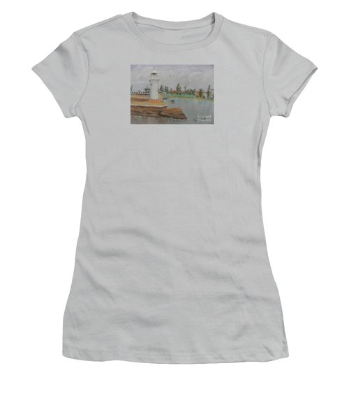 Small Lighthouse At Wollongong Harbour Women's T-Shirt (Junior Cut) by Pamela  Meredith