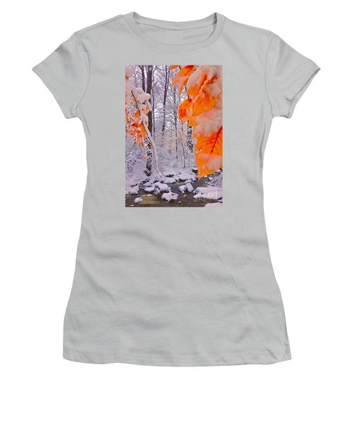 Snow Covered Woods And Stream Women's T-Shirt (Junior Cut) by Todd Breitling