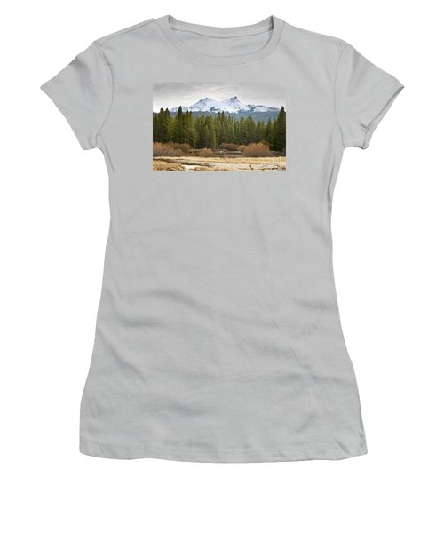 Women's T-Shirt (Junior Cut) featuring the photograph Snowy Fall In Yosemite by David Millenheft