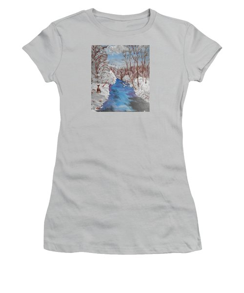 Snowy Stream Women's T-Shirt (Athletic Fit)