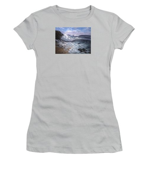 Sounding Waves At Big Sur Women's T-Shirt (Athletic Fit)