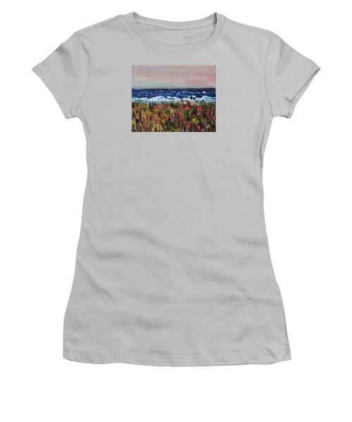 Women's T-Shirt (Junior Cut) featuring the painting South Cape Beach Sunset by Michael Helfen