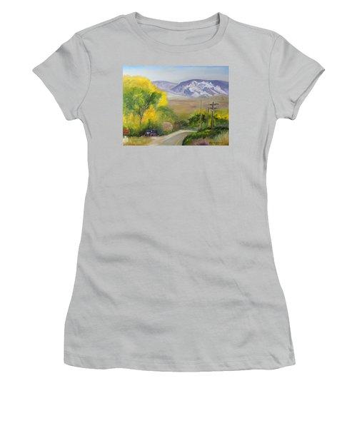Split Mountain On Golf Course Road Women's T-Shirt (Junior Cut) by Sherril Porter