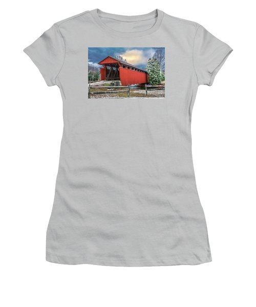 Staats Mill Covered Bridge Women's T-Shirt (Junior Cut)