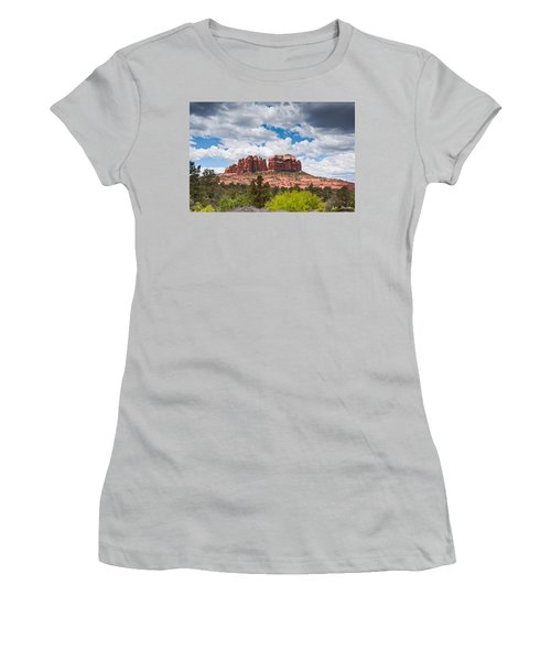 Storm Clouds Over Cathedral Rocks Women's T-Shirt (Junior Cut) by Jeff Goulden