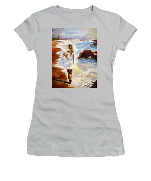 Women's T-Shirt (Junior Cut) featuring the painting Summer Memories by Cristina Mihailescu