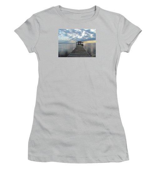 Women's T-Shirt (Junior Cut) featuring the photograph Sun Rays On The Lake by Cynthia Guinn