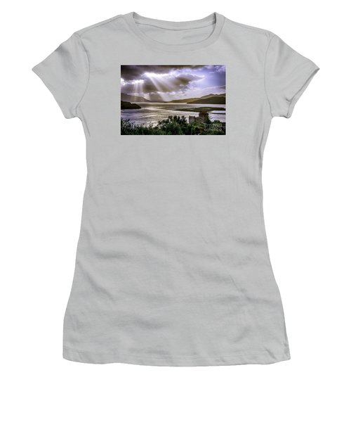 Sun Rays Over Eilean Donan Castle Women's T-Shirt (Athletic Fit)