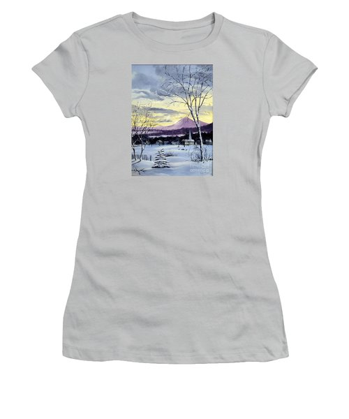 Women's T-Shirt (Junior Cut) featuring the painting Sunday In Winter by Lee Piper