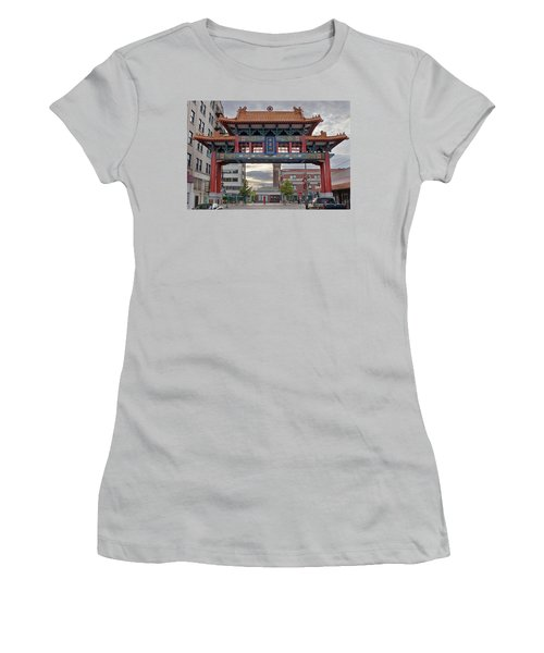 Women's T-Shirt (Junior Cut) featuring the photograph Sunset At Chinatown Gate In Seattle Washington by JPLDesigns