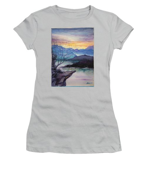 Sunset Montains Women's T-Shirt (Junior Cut) by Alban Dizdari