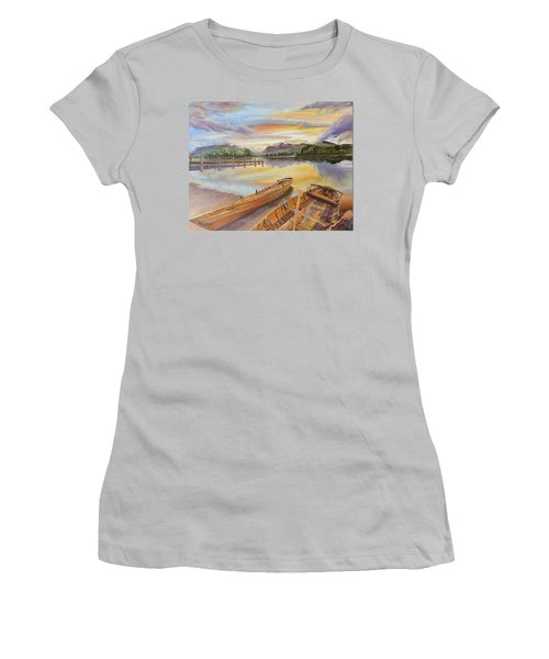 Sunset Over Serenity Lake Women's T-Shirt (Athletic Fit)
