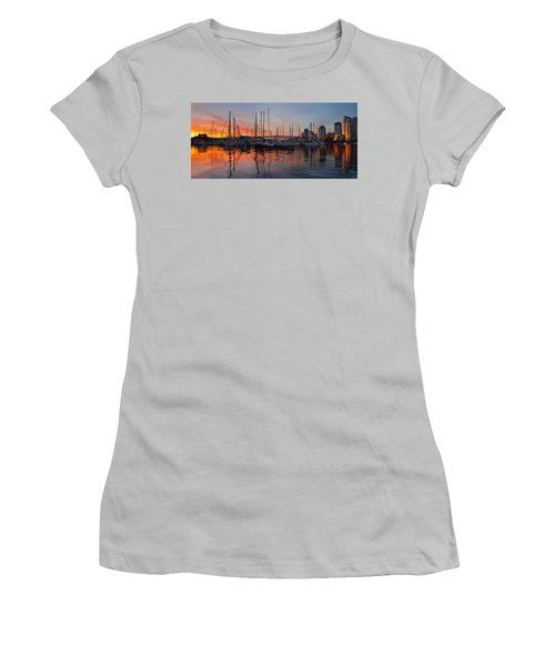 Women's T-Shirt (Junior Cut) featuring the photograph Sunset View From Charleson Park In Vancouver Bc by JPLDesigns
