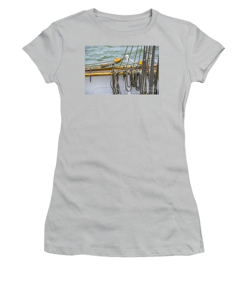 Women's T-Shirt (Junior Cut) featuring the photograph Tall Ship Rigging by Dale Powell