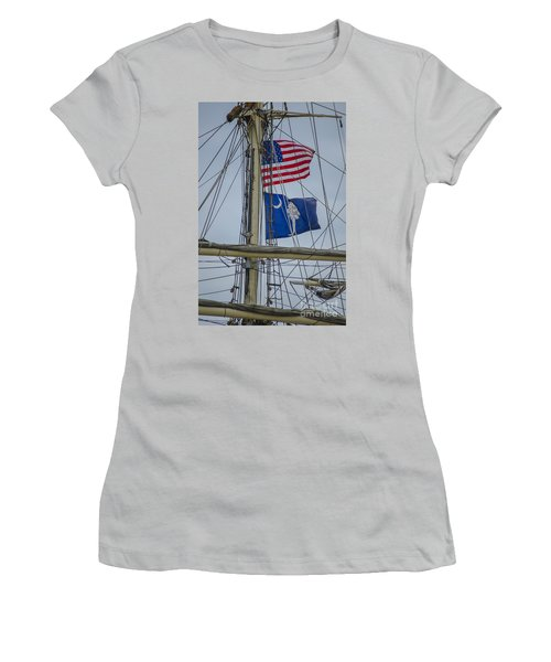 Women's T-Shirt (Junior Cut) featuring the photograph Tall Ships Flags by Dale Powell