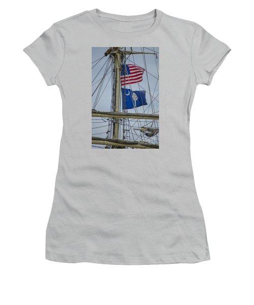 Tall Ships Flags Women's T-Shirt (Junior Cut) by Dale Powell