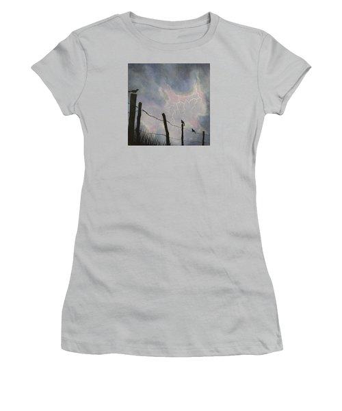 The Birds - Watching The Show Women's T-Shirt (Junior Cut) by Jack Malloch