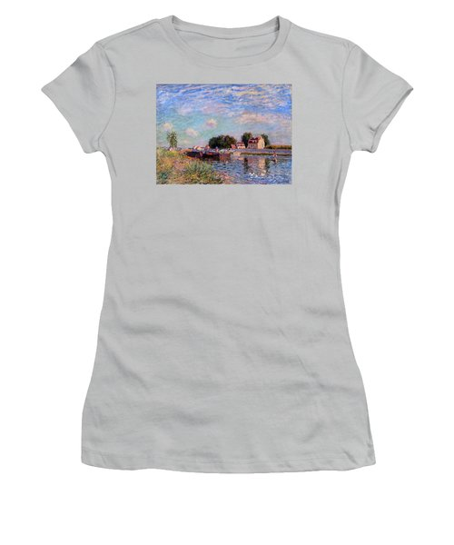 The Canal At Saint-mammes Women's T-Shirt (Athletic Fit)