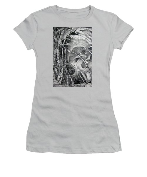 Women's T-Shirt (Junior Cut) featuring the drawing The Eye Of The Fomorii - Regrouping For The Battle by Otto Rapp