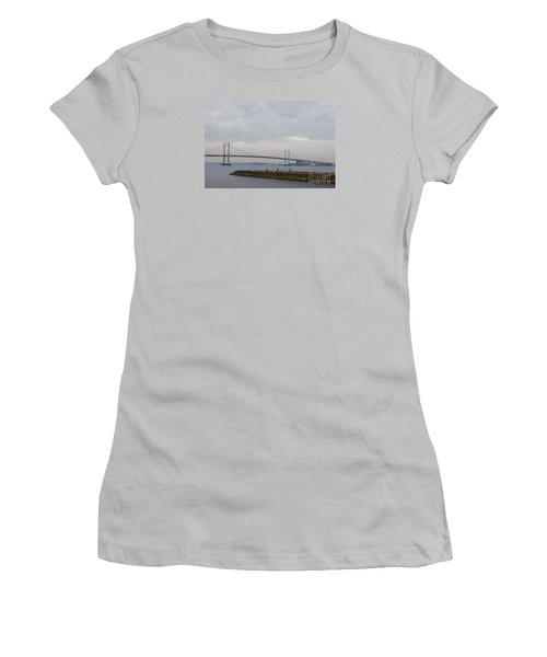 The Throgs Neck Bridge Women's T-Shirt (Junior Cut) by John Telfer
