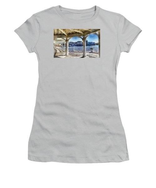 The View From The Boardwalk Gazebo Wdw 02 Photo Art Women's T-Shirt (Athletic Fit)