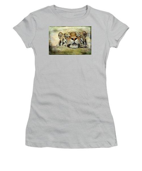 Tiger Snooze Women's T-Shirt (Junior Cut) by Athena Mckinzie