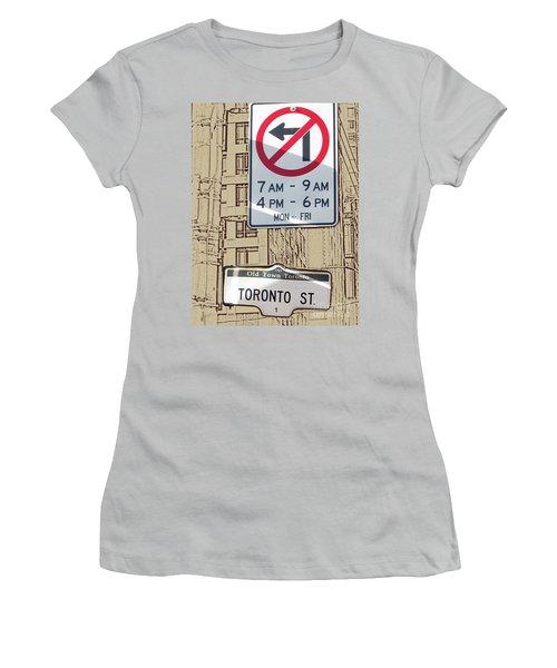 Toronto Street Sign Women's T-Shirt (Junior Cut) by Nina Silver
