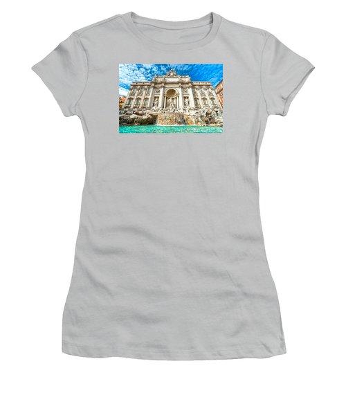 Trevi Fountain - Rome Women's T-Shirt (Junior Cut) by Luciano Mortula