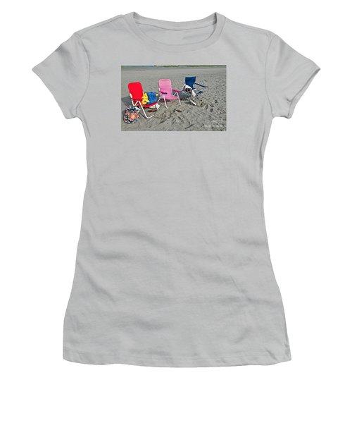 Women's T-Shirt (Junior Cut) featuring the photograph Vacation Time Beach Art Prints by Valerie Garner