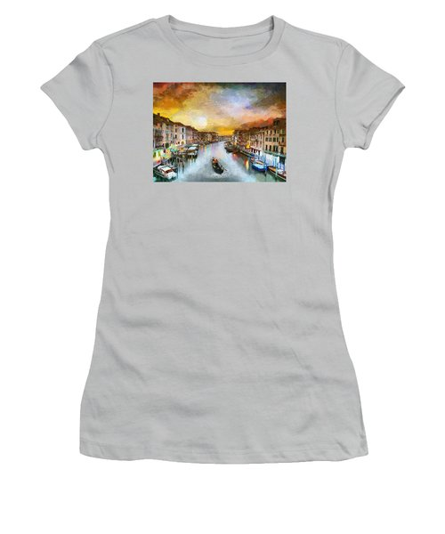 Women's T-Shirt (Junior Cut) featuring the painting Sunrise In The Beautiful Charming Venice by Georgi Dimitrov