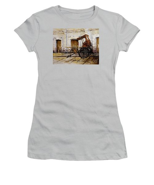 Women's T-Shirt (Junior Cut) featuring the painting Vigan Carriage 1 by Joey Agbayani