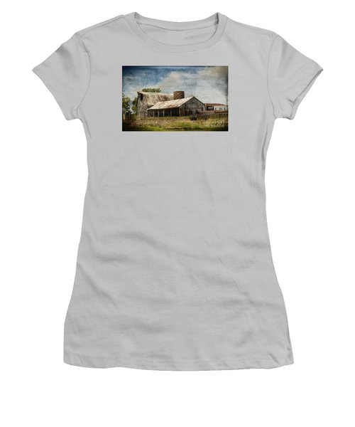 Barn -vintage Barn With Brick Silo - Luther Fine Art Women's T-Shirt (Junior Cut) by Luther Fine Art