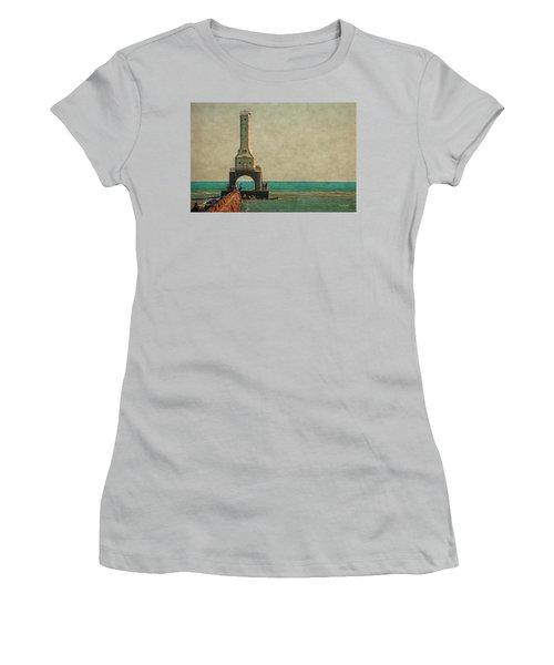 Walking On The Breakwater Women's T-Shirt (Junior Cut) by Mary Machare