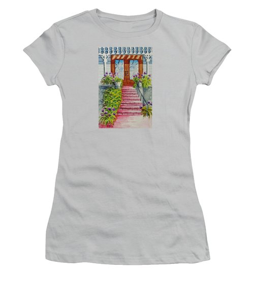 Women's T-Shirt (Junior Cut) featuring the painting Welcome by Katherine Young-Beck