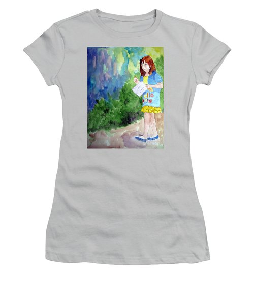 Women's T-Shirt (Junior Cut) featuring the painting A Walk In The Woods by Sandy McIntire