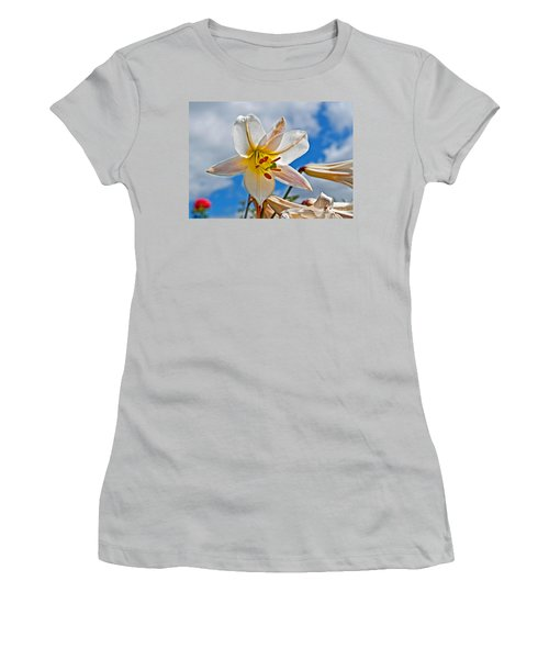 White Lily Flower Against Blue Sky Art Prints Women's T-Shirt (Athletic Fit)